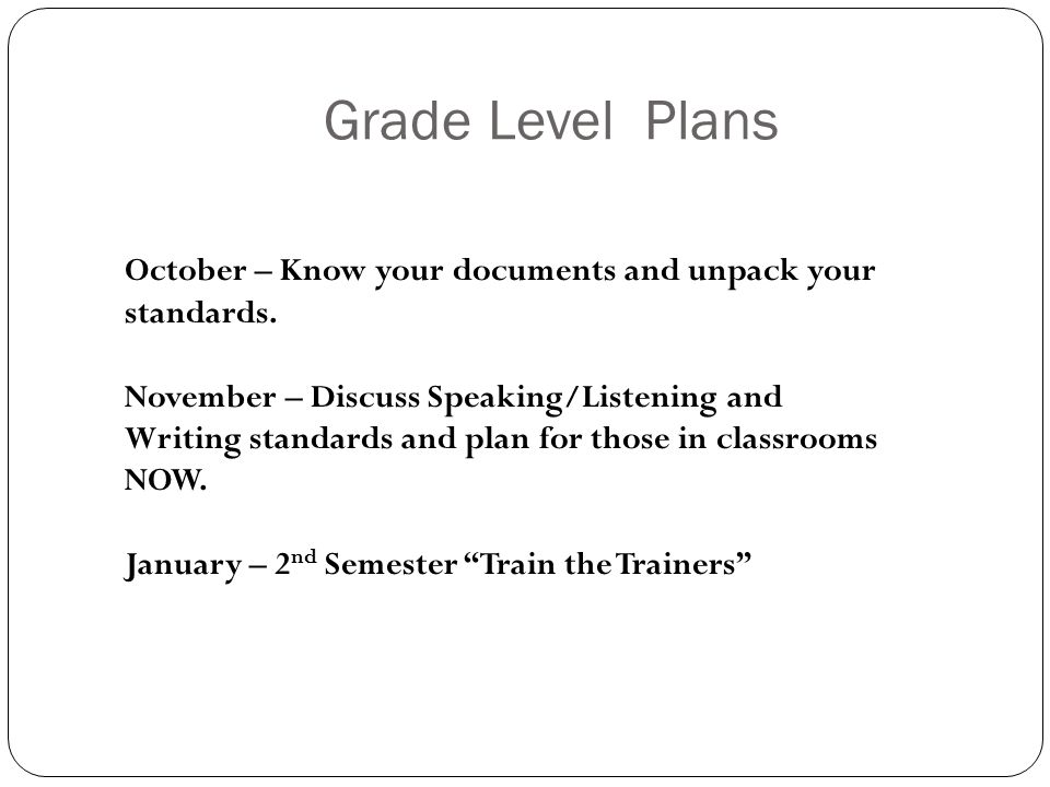 Grade Level Plans October – Know your documents and unpack your standards.