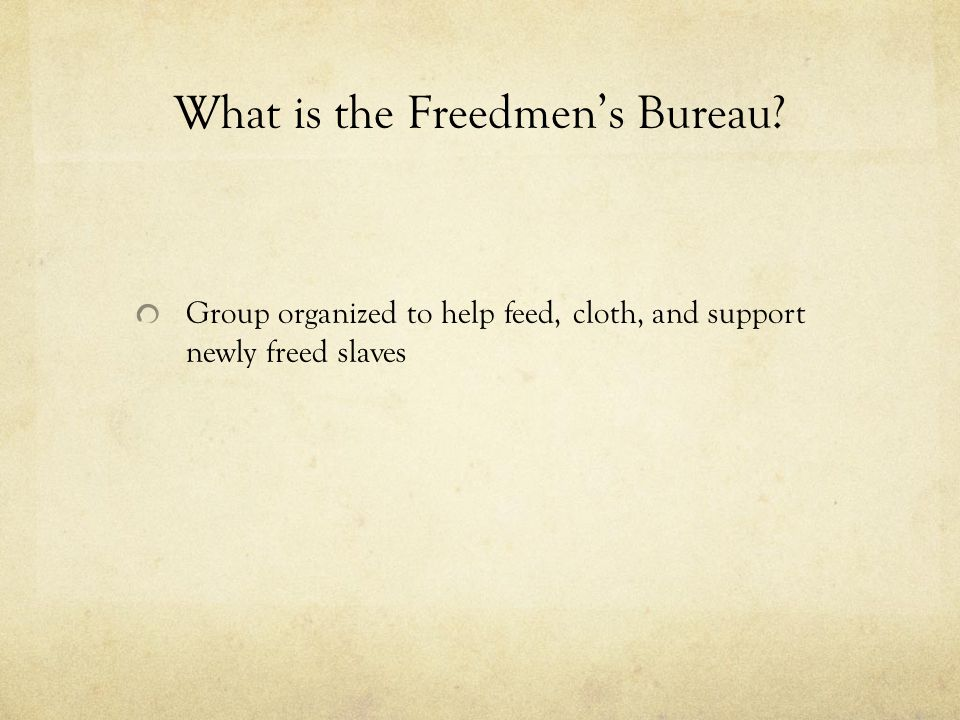 What is the Freedmen's Bureau Group organized to help feed, cloth, and support newly freed slaves
