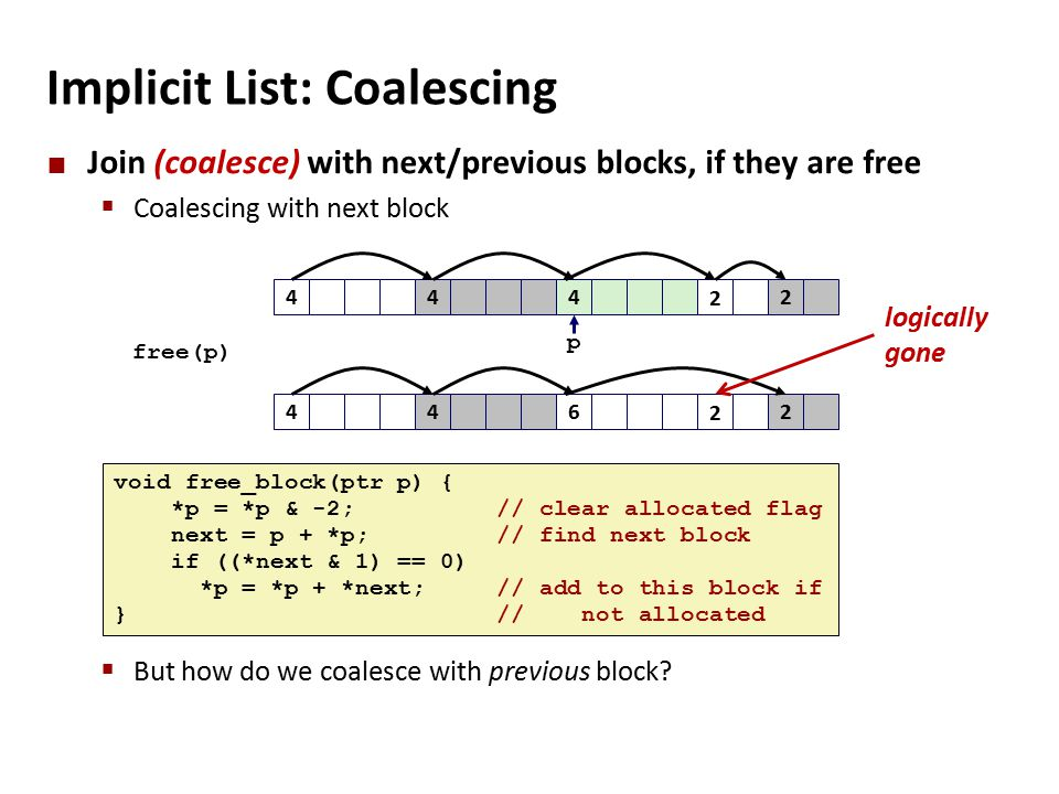 Implicit List: Coalescing Join (coalesce) with next/previous blocks, if they are free  Coalescing with next block  But how do we coalesce with previous block.
