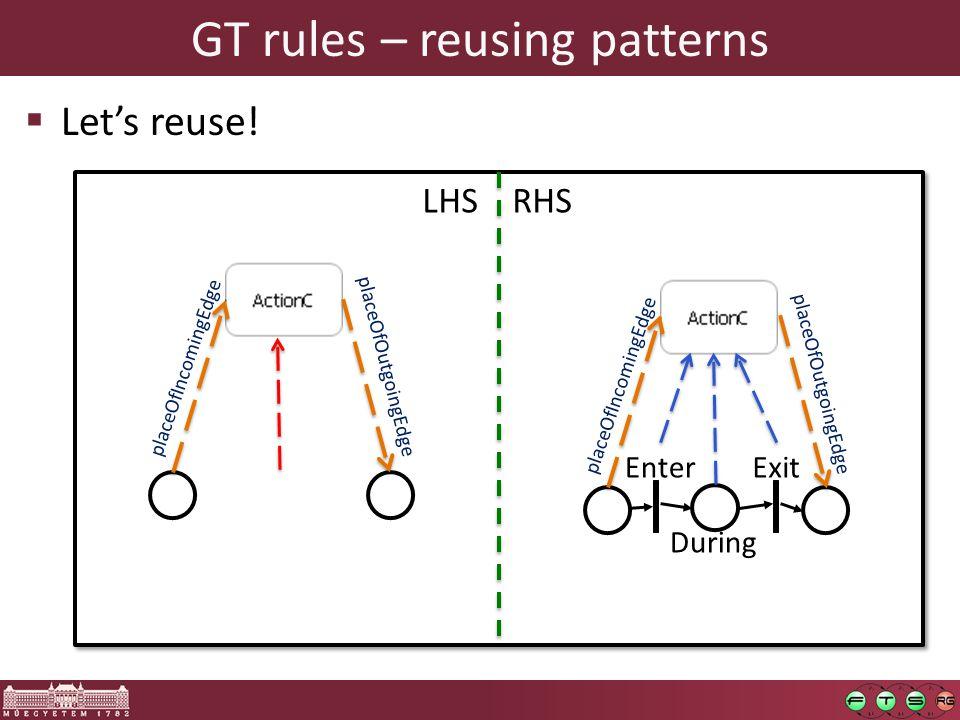GT rules – reusing patterns  Let's reuse.