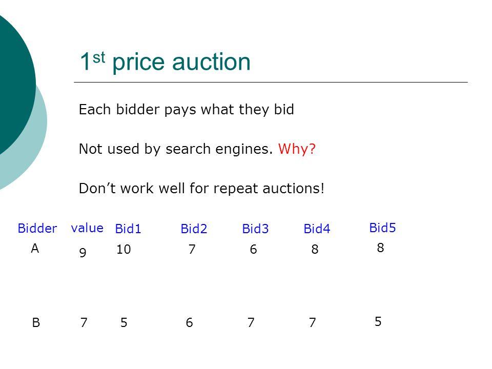 1 st price auction 10 5 Bid1 7 6 Bid2 6 7 Bid3 8 7 Bid4 8 5 Bid5 A B Bidder value 9 7 Each bidder pays what they bid Not used by search engines. Why?