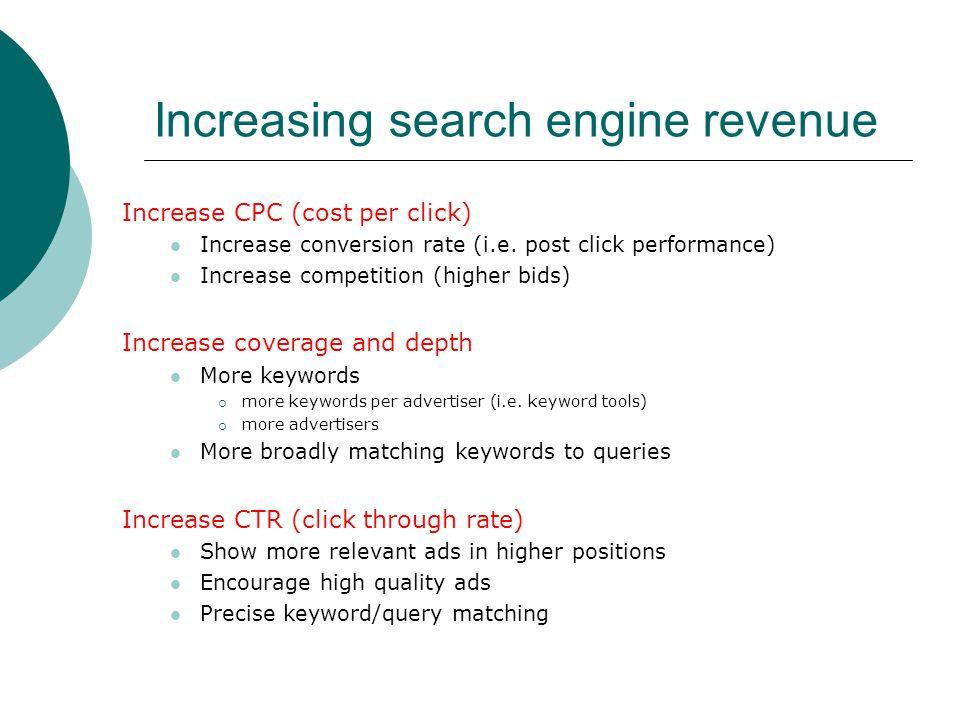 Increasing search engine revenue Increase CPC (cost per click) Increase conversion rate (i.e. post click performance) Increase competition (higher bid