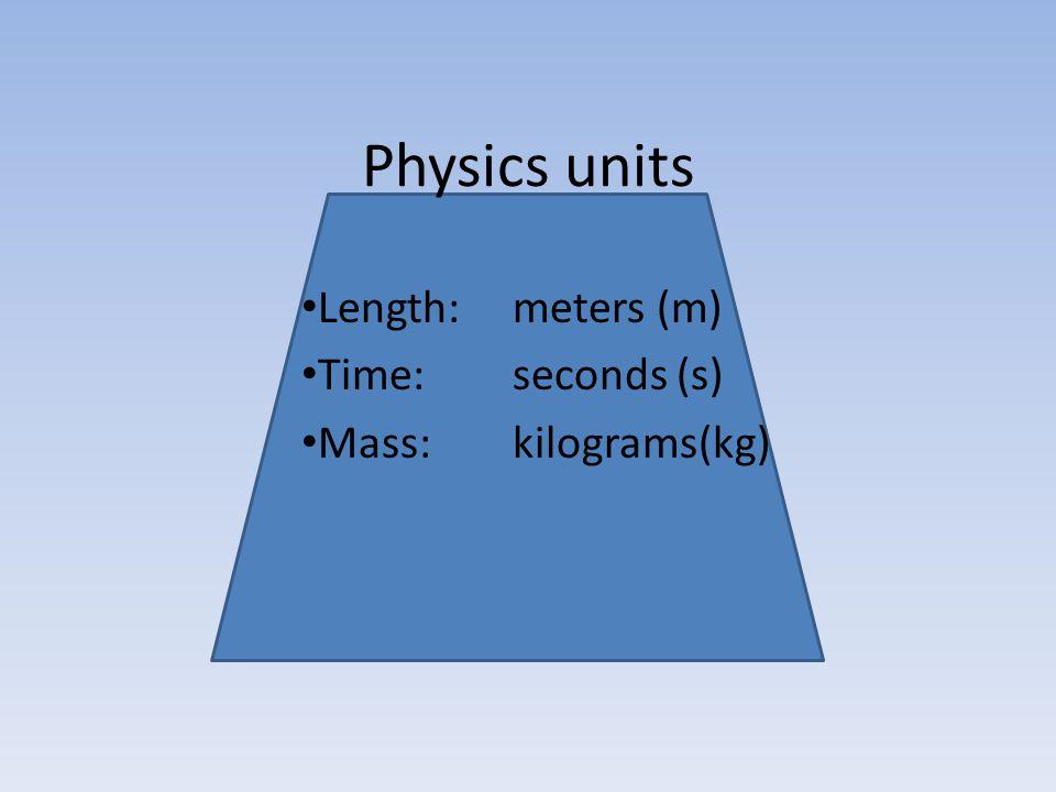 Physics units Length: meters (m) Time: seconds (s) Mass:kilograms(kg)