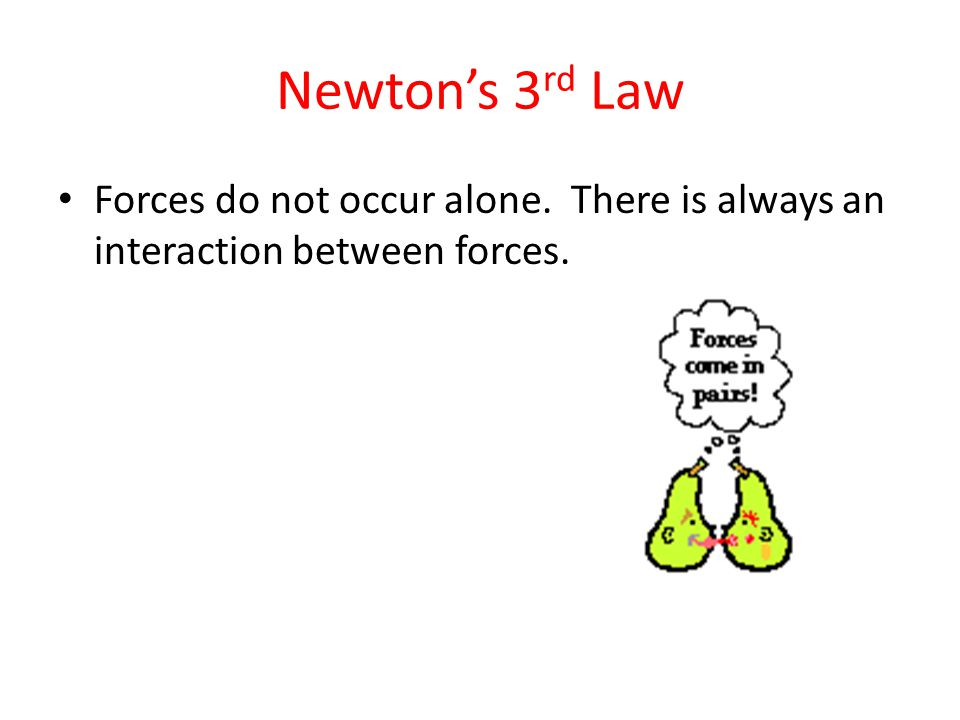 Forces do not occur alone. There is always an interaction between forces.