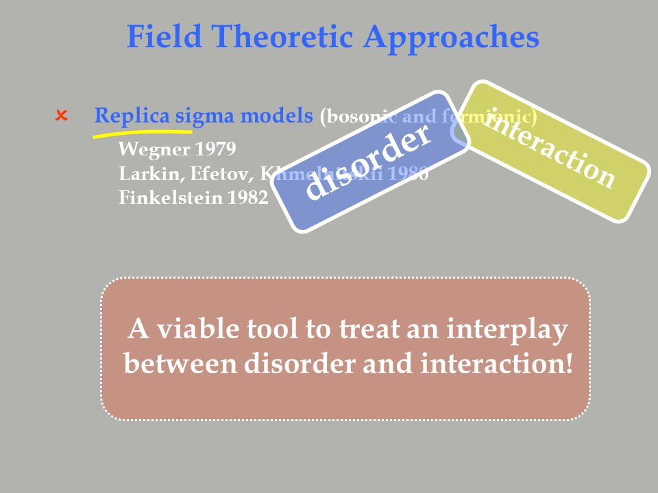 Replica sigma models (bosonic and fermionic)  Wegner 1979 Larkin, Efetov, Khmelnitskii 1980 Finkelstein 1982 Field Theoretic Approaches interaction disorder A viable tool to treat an interplay between disorder and interaction!