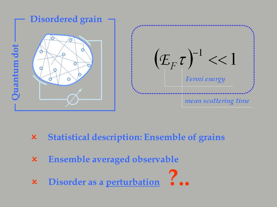 Statistical description: Ensemble of grains  Ensemble averaged observable  Disorder as a perturbation  ..