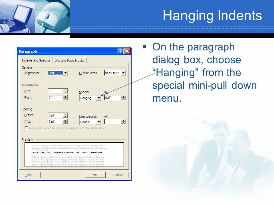 "Hanging Indents  On the paragraph dialog box, choose ""Hanging"" from the special mini-pull down menu."