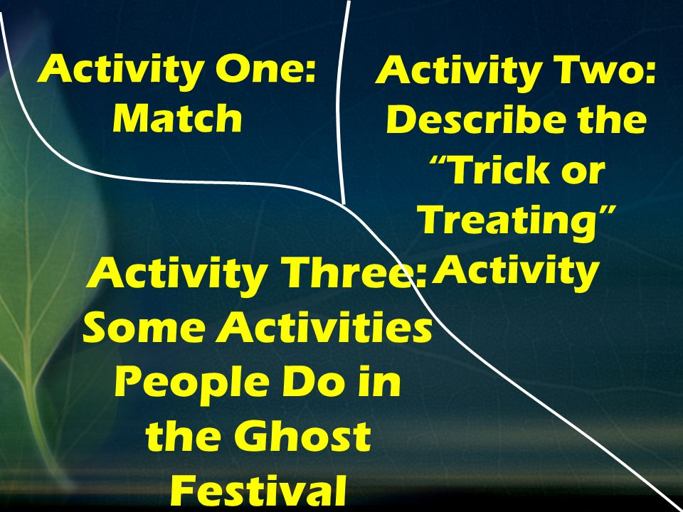 Activity Two: Describe the Trick or Treating Activity Activity Three: Some Activities People Do in the Ghost Festival Activity One: Match