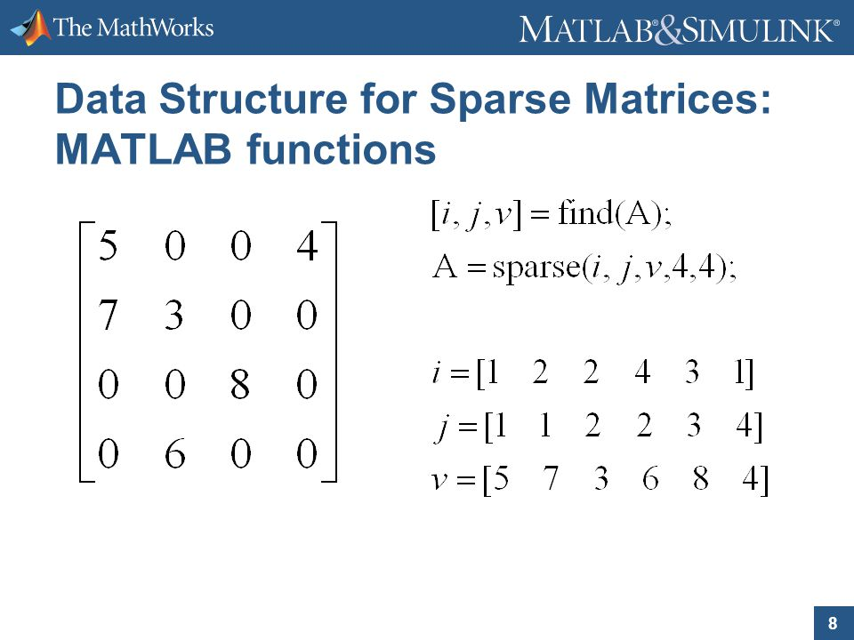 8 Data Structure for Sparse Matrices: MATLAB functions