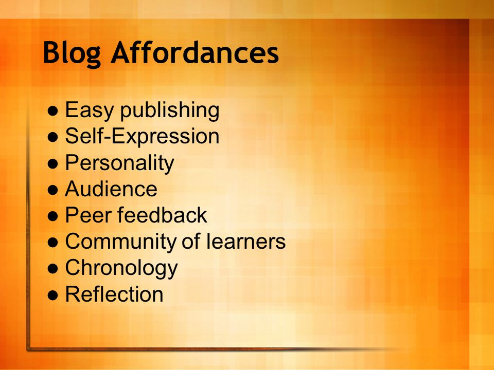 Designs for Teaching with Blogs Learning Journals Collaboration with distant classrooms Role plays, solo and multi-role