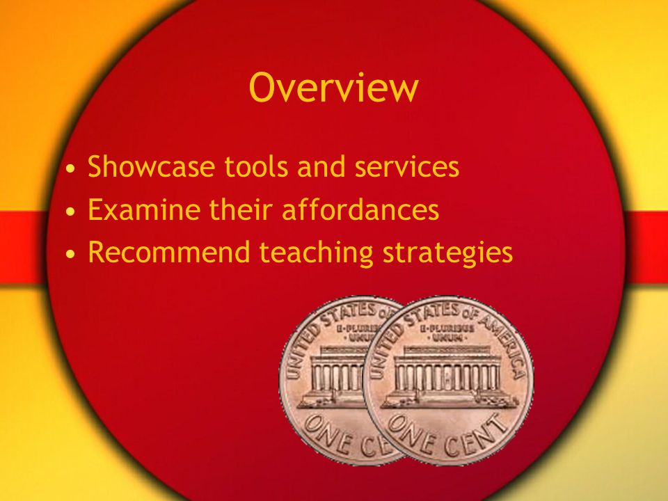 Overview Showcase tools and services Examine their affordances Recommend teaching strategies