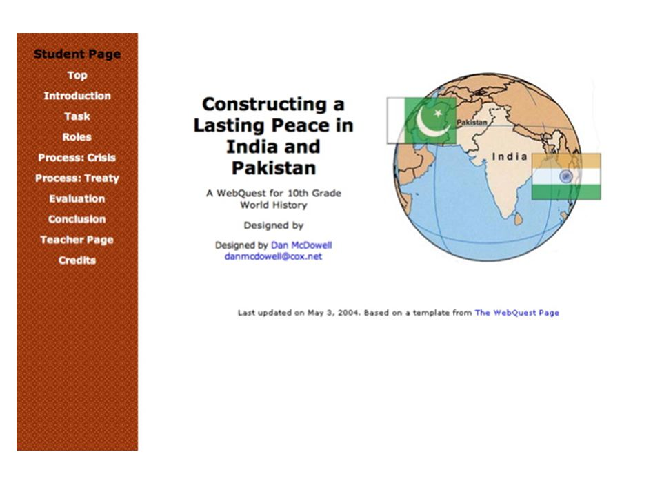 Example WebQuest: India & Pakistan