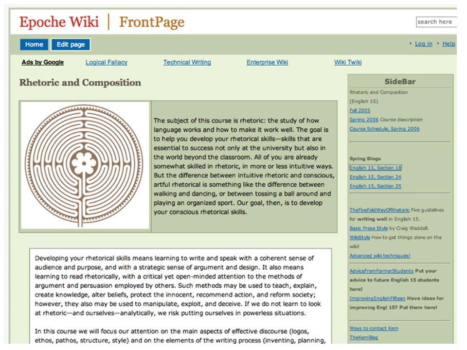 Wiki Affordances Easy publishing Collaboration Peer feedback Editing / Refinement / Clarification Organizing & chunking Objectivity