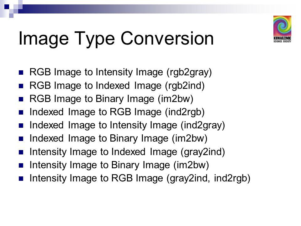 Image Type Conversion RGB Image to Intensity Image (rgb2gray) RGB Image to Indexed Image (rgb2ind) RGB Image to Binary Image (im2bw) Indexed Image to