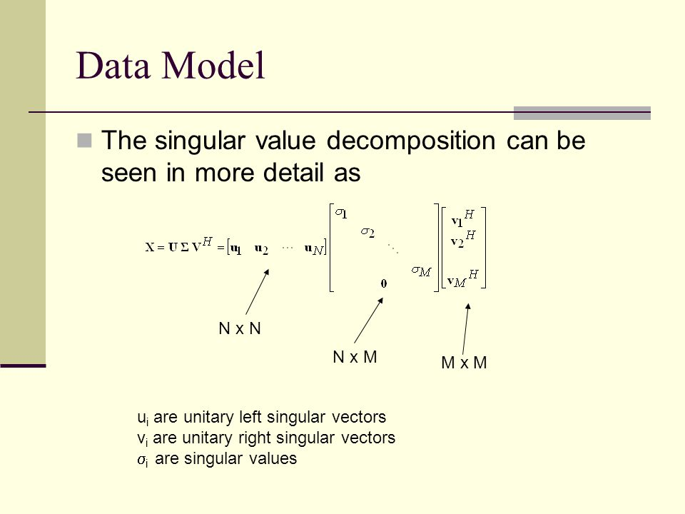 Data Model The eigenvalue decomposition can be seen in more detail as M x M v i are unitary right eigenvectors i are eigenvalues How is the SVD and EVD related.