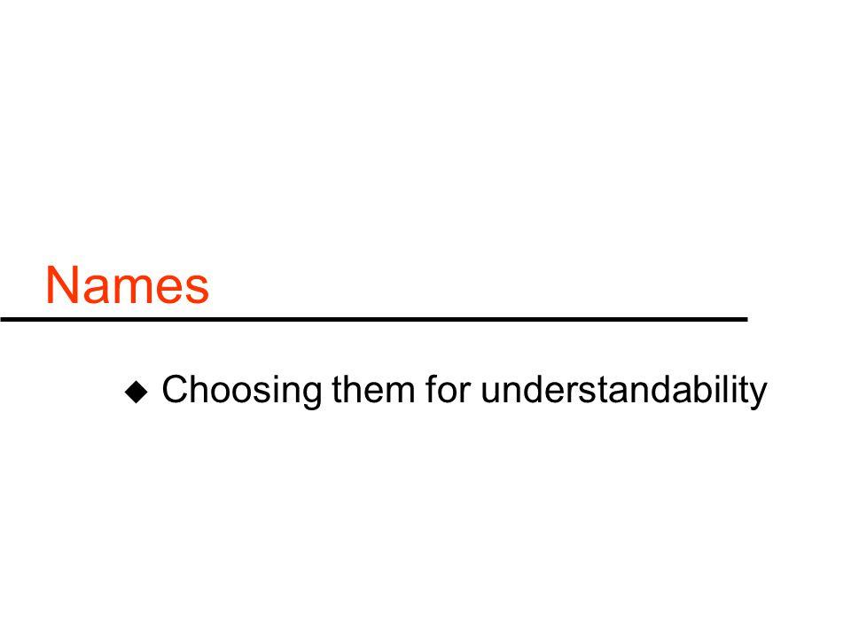 Names u Choosing them for understandability