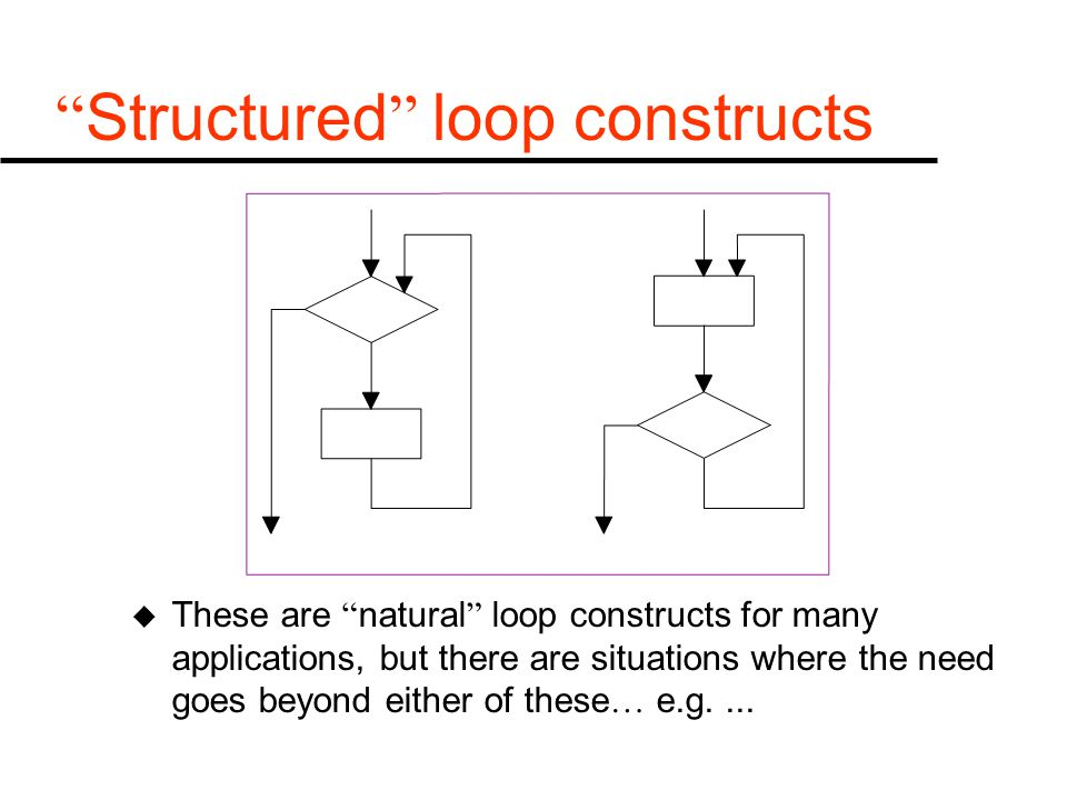 """ Structured "" loop constructs u These are "" natural "" loop constructs for many applications, but there are situations where the need goes beyond eith"