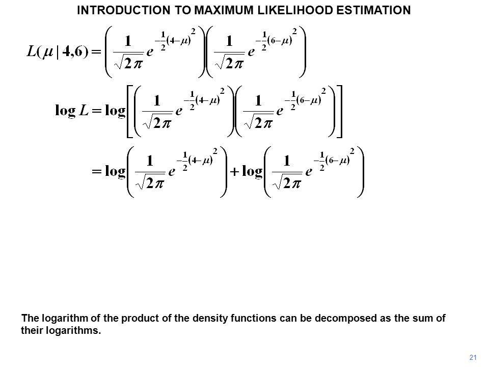 21 INTRODUCTION TO MAXIMUM LIKELIHOOD ESTIMATION The logarithm of the product of the density functions can be decomposed as the sum of their logarithms.