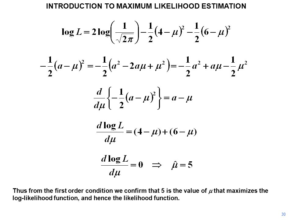 30 INTRODUCTION TO MAXIMUM LIKELIHOOD ESTIMATION Thus from the first order condition we confirm that 5 is the value of  that maximizes the log-likelihood function, and hence the likelihood function.