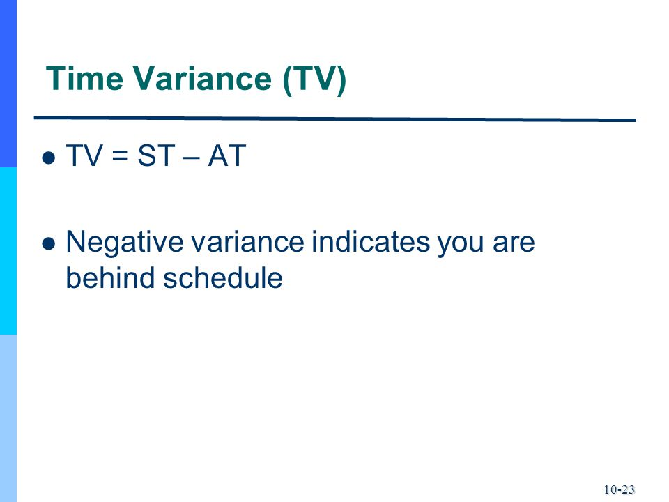 10-23 Time Variance (TV) TV = ST – AT Negative variance indicates you are behind schedule