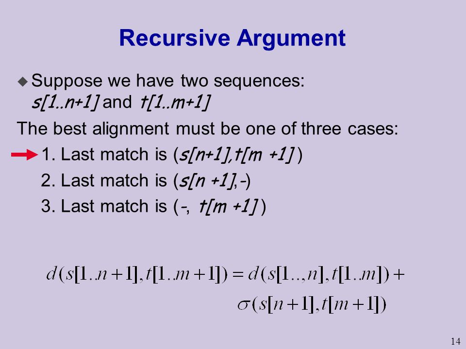 14 Recursive Argument  Suppose we have two sequences: s[1..n+1] and t[1..m+1] The best alignment must be one of three cases: 1. Last match is ( s[n+1