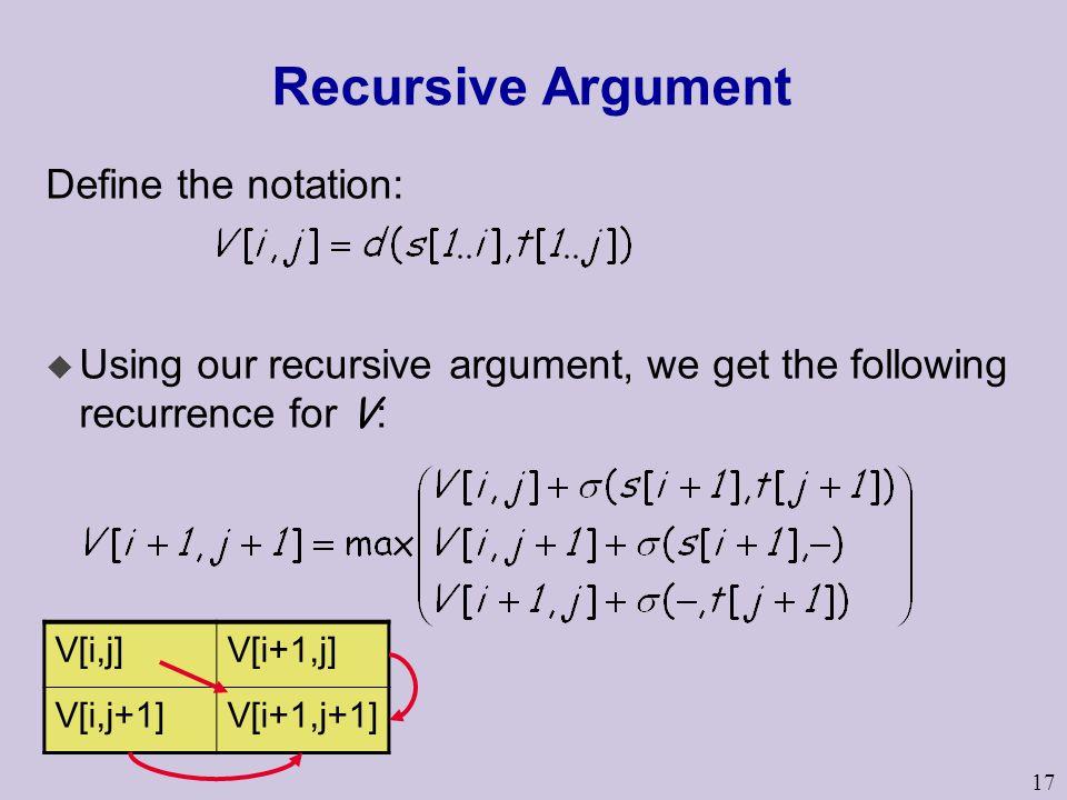 17 Recursive Argument Define the notation:  Using our recursive argument, we get the following recurrence for V : V[i,j]V[i+1,j] V[i,j+1]V[i+1,j+1]