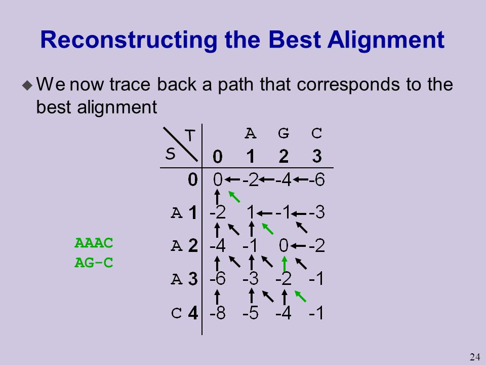 24 Reconstructing the Best Alignment u We now trace back a path that corresponds to the best alignment AAAC AG-C S T