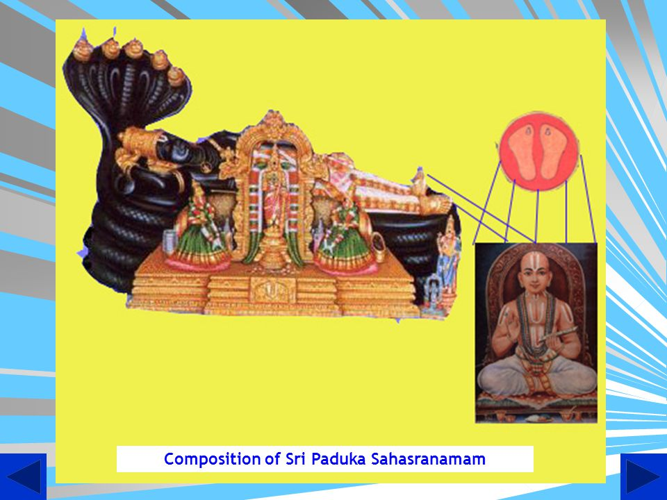 Birth of Paduka Sahasranamam Some vidhwans challenged Swami Desikan to compose 1000 hymns in praise of Lord Ranganatha in one day.