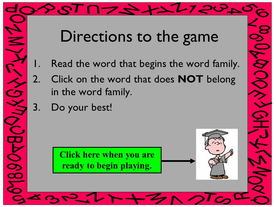 Directions to the game 1.Read the word that begins the word family.