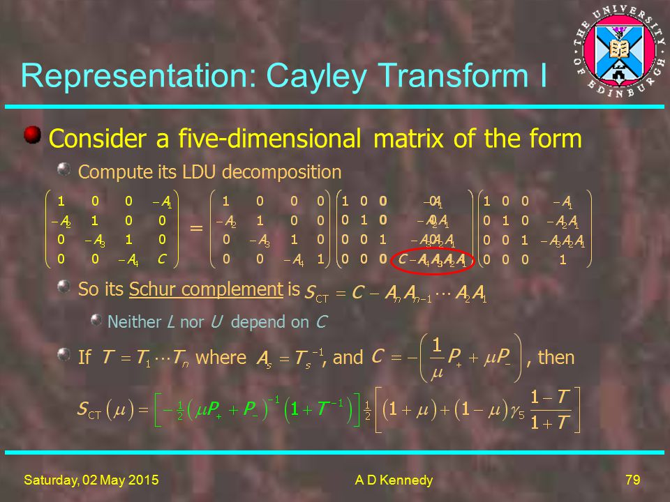 79 Saturday, 02 May 2015A D Kennedy Representation: Cayley Transform I Consider a five-dimensional matrix of the form Compute its LDU decomposition So its Schur complement is Neither L nor U depend on C If where, and, then