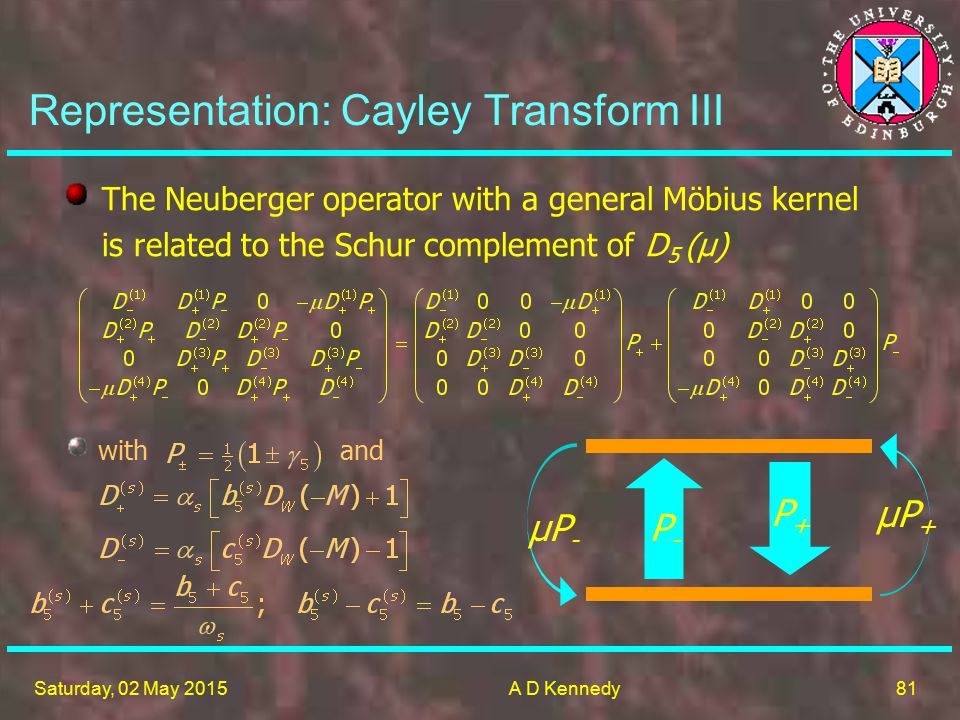 81 Saturday, 02 May 2015A D Kennedy The Neuberger operator with a general Möbius kernel is related to the Schur complement of D 5 (μ) Representation: Cayley Transform III with and P-P- μP-μP- P+P+ μP+μP+