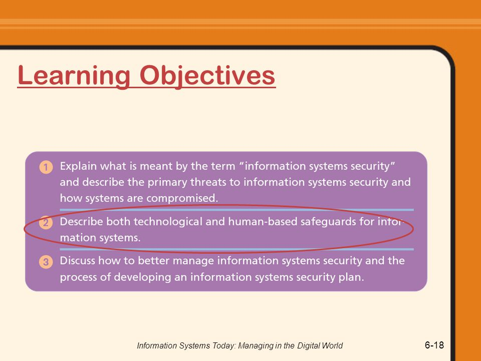 Information Systems Today: Managing in the Digital World 6-18 Learning Objectives