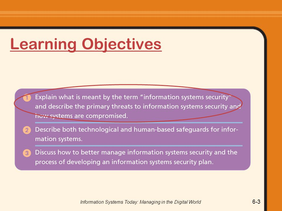 Information Systems Today: Managing in the Digital World 6-3 Learning Objectives