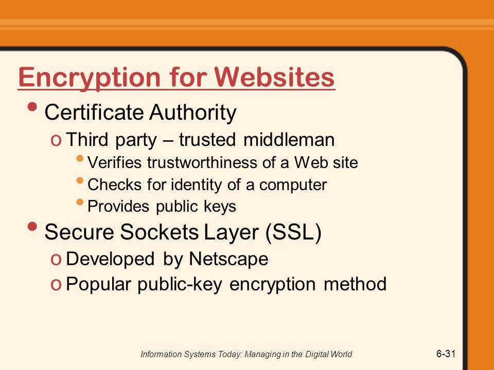 Information Systems Today: Managing in the Digital World 6-31 Encryption for Websites Certificate Authority o Third party – trusted middleman Verifies