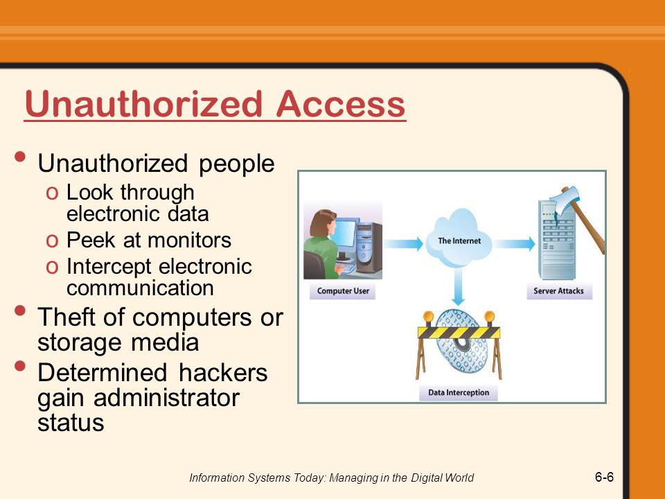 Information Systems Today: Managing in the Digital World 6-6 Unauthorized Access Unauthorized people o Look through electronic data o Peek at monitors