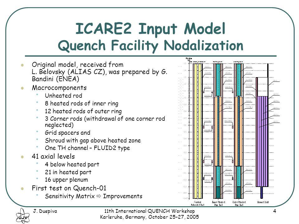 J. Duspiva11th International QUENCH Workshop Karlsruhe, Germany, October 25-27, 2005 4 ICARE2 Input Model Quench Facility Nodalization Original model,