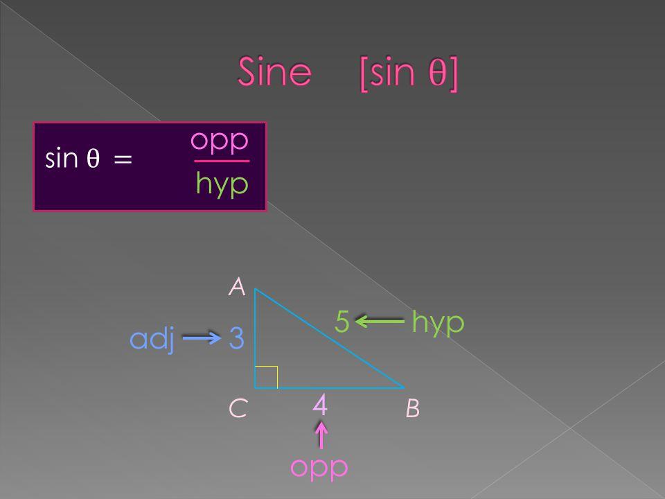 sin θ = A CB 3 4 5hyp opp adj opp hyp