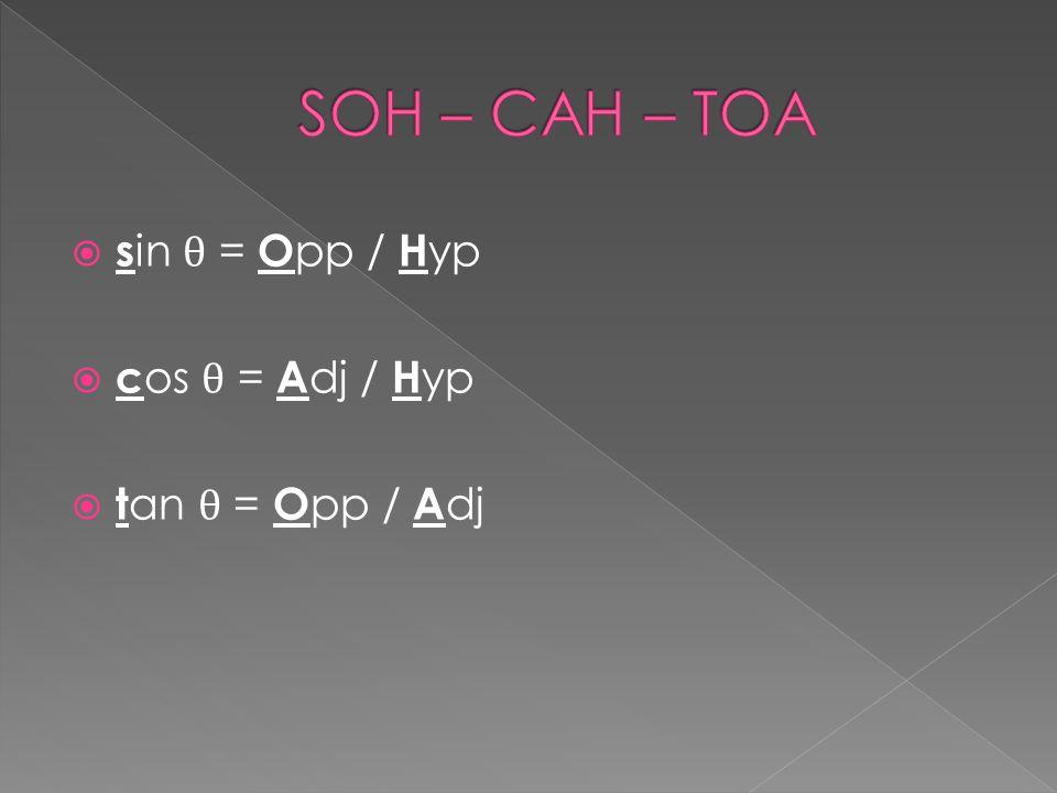  s in θ = O pp / H yp  c os θ = A dj / H yp  t an θ = O pp / A dj
