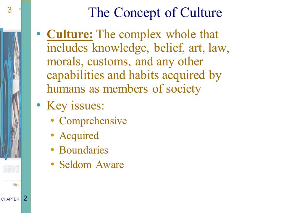 3 CHAPTER 2 The Concept of Culture Culture: The complex whole that includes knowledge, belief, art, law, morals, customs, and any other capabilities and habits acquired by humans as members of society Key issues: Comprehensive Acquired Boundaries Seldom Aware