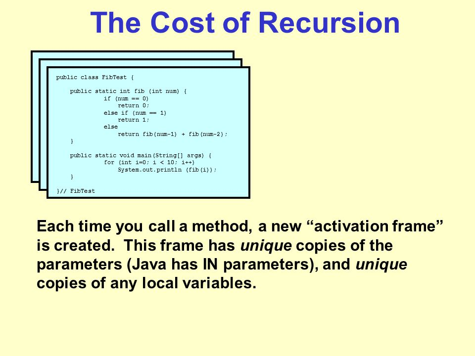 The Cost of Recursion public class FibTest { public static int fib (int num) { if (num == 0) return 0; else if (num == 1) return 1; else return fib(num-1) + fib(num-2); } public static void main(String[] args) { for (int i=0; i < 10; i++) System.out.println (fib(i)); } }// FibTest Each time you call a method, a new activation frame is created.