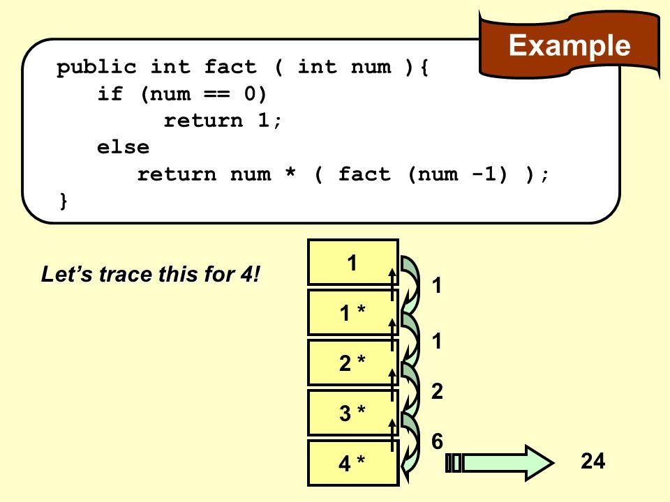 public int fact ( int num ){ if (num == 0) return 1; else return num * ( fact (num -1) ); } Let's trace this for 4.