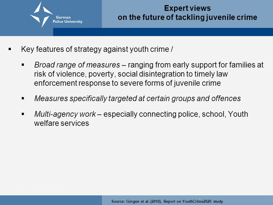 Expert views on the future of tackling juvenile crime  Key features of strategy against youth crime /  Broad range of measures – ranging from early support for families at risk of violence, poverty, social disintegration to timely law enforcement response to severe forms of juvenile crime  Measures specifically targeted at certain groups and offences  Multi-agency work – especially connecting police, school, Youth welfare services Source: Görgen et al.