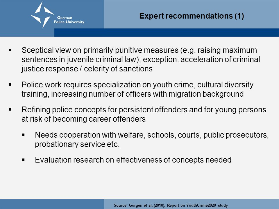 Expert recommendations (1)  Sceptical view on primarily punitive measures (e.g.
