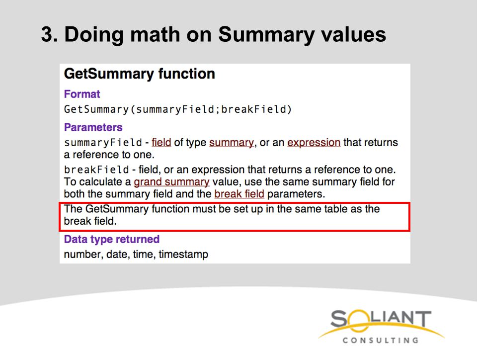 3. Doing math on Summary values