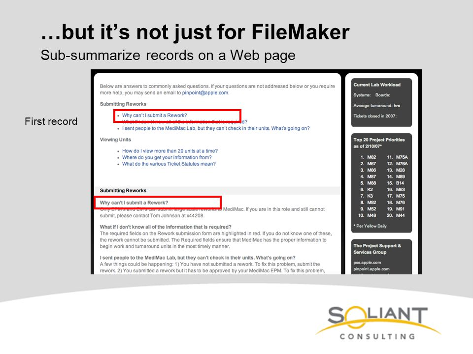 …but it's not just for FileMaker Sub-summarize records on a Web page First record