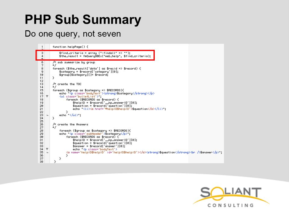 PHP Sub Summary Do one query, not seven