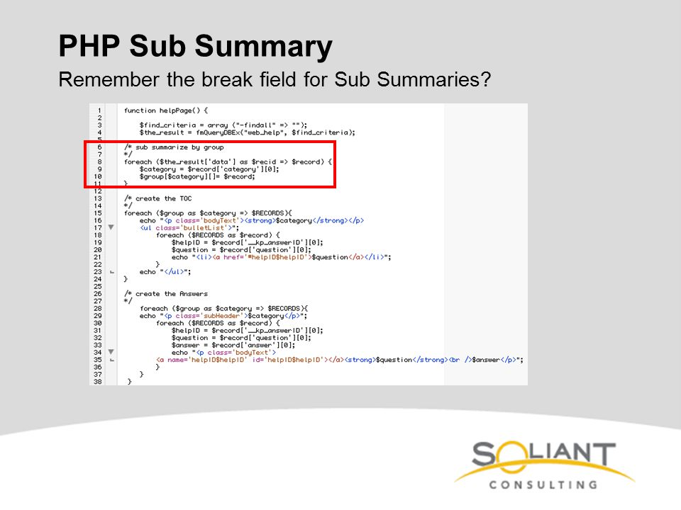 PHP Sub Summary Remember the break field for Sub Summaries?