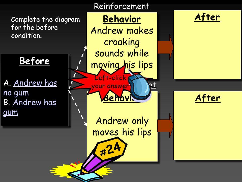 Before A. Andrew has no gumAndrew has no gum B. Andrew has gumAndrew has gum Before A.