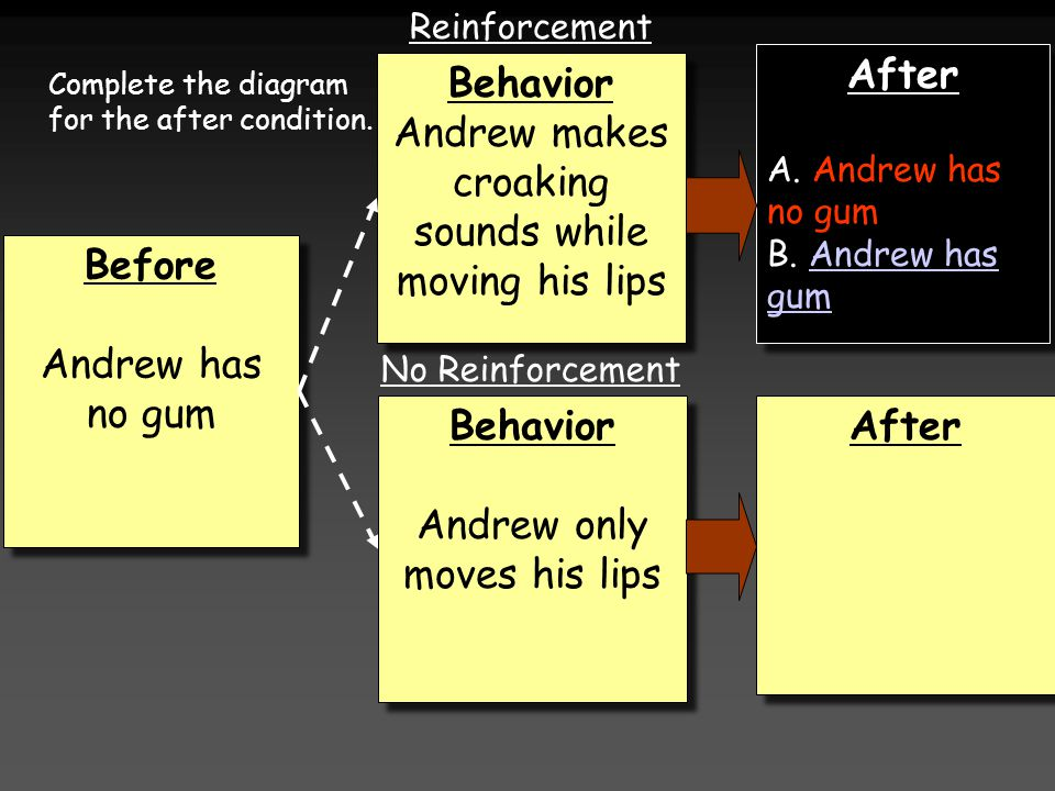 Before Andrew has no gum Before Andrew has no gum Behavior Andrew only moves his lips Behavior Andrew only moves his lips Behavior Andrew makes croaking sounds while moving his lips Behavior Andrew makes croaking sounds while moving his lips After A.